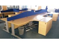 Corner desks - plus pedestal drawer unit. Desks 1600mmx 1200mm.