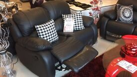 LEICESTER TRADE SOFAS DELIVERED FAST - BRAND NEW - RECLINER SUITE - BLACK LEATHER - ORDER NOW!