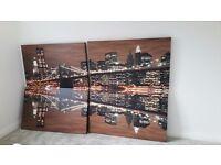 Stunning set of 4 Large Canvas Photos of Brooklyn Bridge at Night