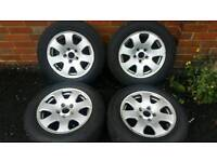 "15"" Audi a4 Alloy Wheels and Tyres 5x112 vw skoda seat"