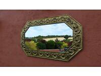 Beautiful Mirror Art & Craft Danish embossed brass frame Excellent condition