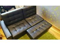 Faux leather black sofa bed with storage