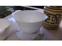 Two Large White Plastic Bowls in Good Condition