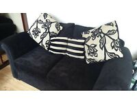 BLACK VELOUR DOUBLE SOFA BED