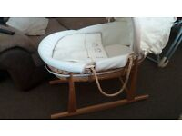 Moses Basket with rocking stand for sale