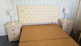 Lovely Double Divan Bed With a Cream Headcover and Two Side Cabinets in very good condition