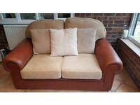 2 leather sofas + 1 footstool