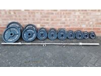 BODY POWER 145KG OLYMPIC WEIGHTS SET WITH 6FT or 7FT BAR