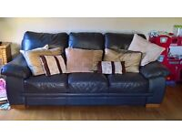 Soft Brown 100% Leather 3 + 2 Sofasuite £400 ono - immaculate condition