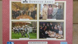 """DOWNTOWN ABBEY JIGSAWS """"BY GIBSONS"""". BOX OF 4, COMPLETE AND IN PERFECT CONDITION"""