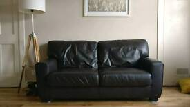 3 and 2 seater brown leather couches