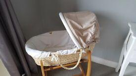 Mamas & Papas neutral unisex moses basket and bedding