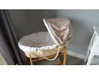 Mamas & Papas neutral unisex moses basket and bedding