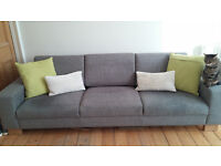 Contempery grey fabric extra large 3 seater sofa