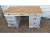 Beautiful refurbished solid pine desk / dressing table painted in soft georgian grey with waxed top