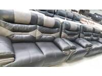 Ex display venus black + grey 3+2+1 seater reclining sofa