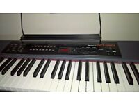 RD-150 Roland weighted keys keyboard with stand and piano stool.