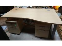 *Price Drop* Curved light oak office right corner desk and 2 x pedestals