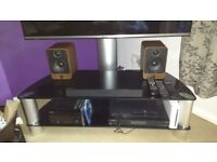 Glass and aluminium two tier TV stand