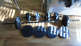 weights, dumbbells, long-bar