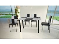 THE GEMINI BRAND NEW DINING TABLE WITH 4 CHAIRS £99 AVAILABLE IN 3 COLORS BRAND NEW PACKED