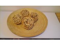 large ikea wooden bowl with 4wicker decor balls great centre piece for table