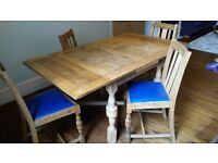 Solid Oak Extending Dining Table with 4 matching chairs