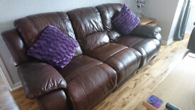 3 seater brown leather recliner with 2 armchair recliners