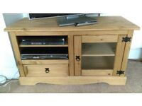 Pine TV unit with shelves, draw and glass cupboard