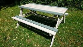 Painted wooden picnic bench 1.5x1.4m