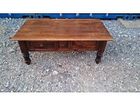 LARGE CHUNKIE PINE COFFEE TABLE WITH DRAWERS