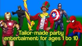 CLOWN Childrens Entertainer MASCOTS WONDER WOMAN BLACK PANTHER manned hire SUPERHEROES FACE PAINTER