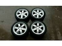 "Genuine Audi A5 6 Spoke 17"" Alloy Wheels & Tyres VW Volkswagen Transporter T4 5 x 112 Vito"
