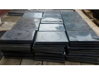 150 DVD cases, cassettes, boxes in black, hard plastic, good condition.