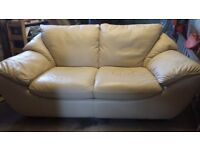Natuzzi 2 seater cream leather sofa