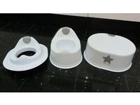 BRAND NEW WHITE LITTLE STAR 3 PIECE TOILET TRAINING SET – POTTY + STEP + SEAT