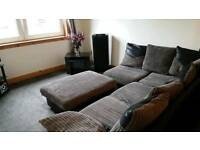 Left hand corner sofa with foot stool