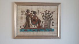 Egyptian papyrus picture in silver effect frame