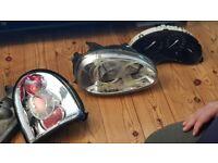 Corsa b angel eye headlights plus lexus lights and clock