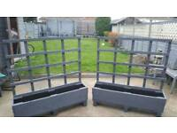 2 x wooden grey planters with trellis