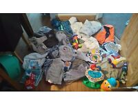 Baby boy clothes, 0 to 9 months and few 12 to 18 months and few toys