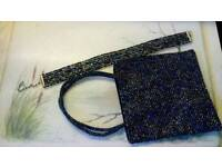 Womens mini sparkle bag and neck choker