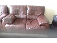 Two soft leather brown suite's for sale in good condition