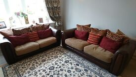 DFS Phoenix 1/2 leather 2-3 seater sofa bed settee & 3-4 seater sofa good condition