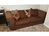 Free DFS 3 seater brown sofa