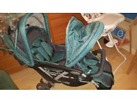 double pram. swing, car seat