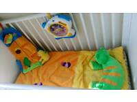 Cot sleeping bag duvet, stotage bag for toys or nursery, plus night projector