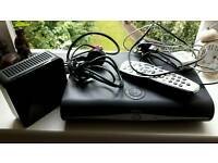 Sky plus HD box with remote control and Router