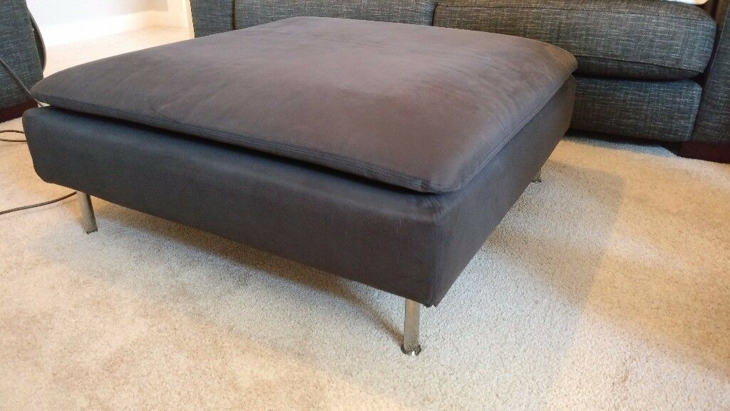 IKEA Footstool Grey Fabric Cushion