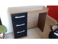 3 draw desk and matching unit (Black and walnut)
